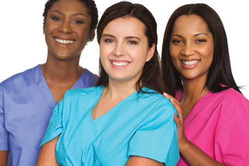 three female medical professionals