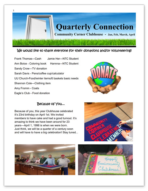 Community Corner Clubhouse January-April 2019 Newsletter
