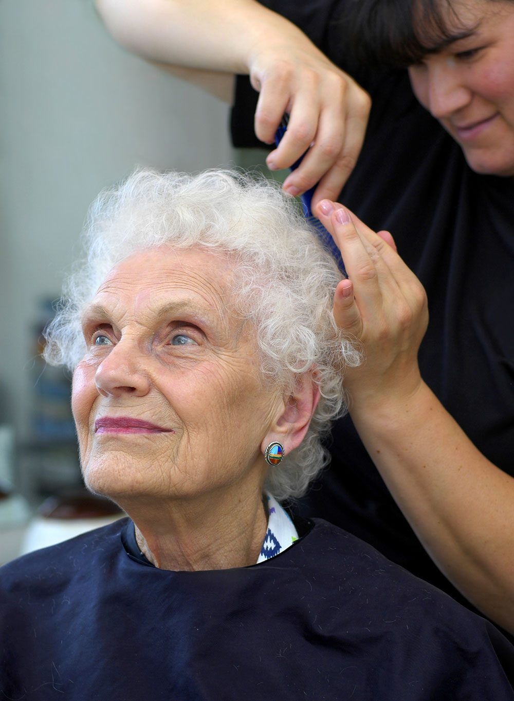 Elderly Woman at Mount View Care Center Beauty Shop